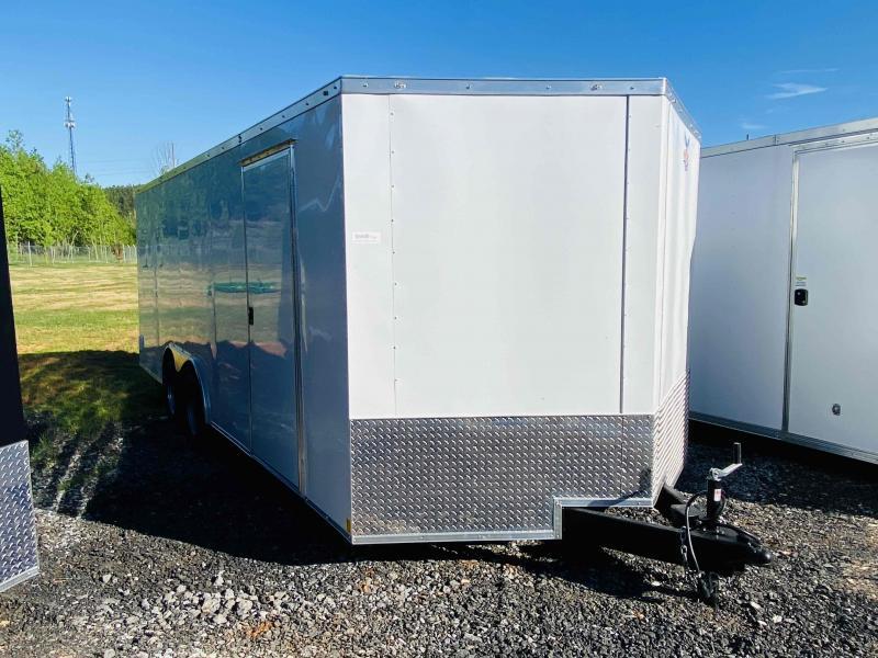 New 2021 Patriot 8.5ft x 20ft 7k Tandem Axle Econo Bumper Pull Enclosed w/6ft walls (White)