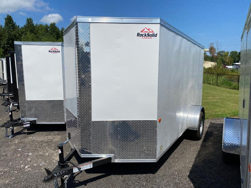 New 2022 Rock Solid 6ft x 12ft 3.5k Single Axle  Bumper Pull Enclosed w/6ft walls (White)