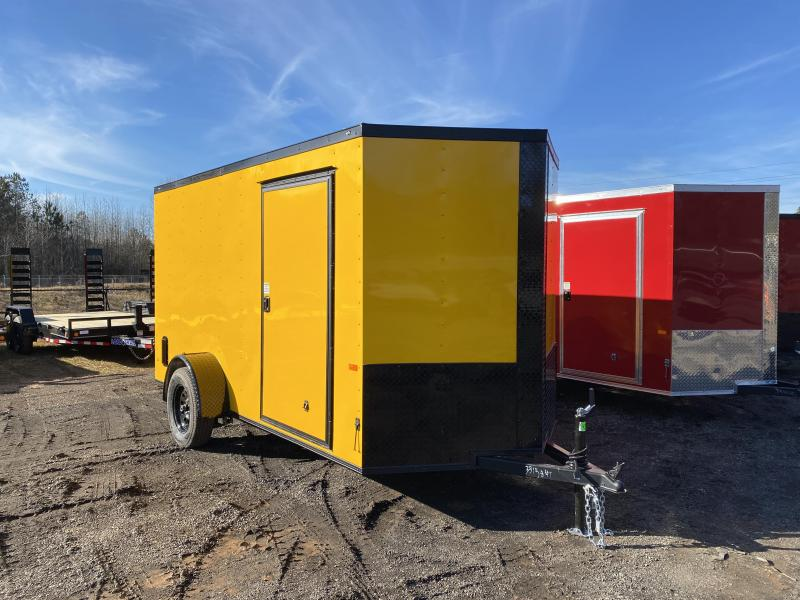 New 2021 Rock Solid 6ft x 12ft 3.5k Single Axle  Bumper Pull Enclosed w/6ft walls (Yellow w/BO)