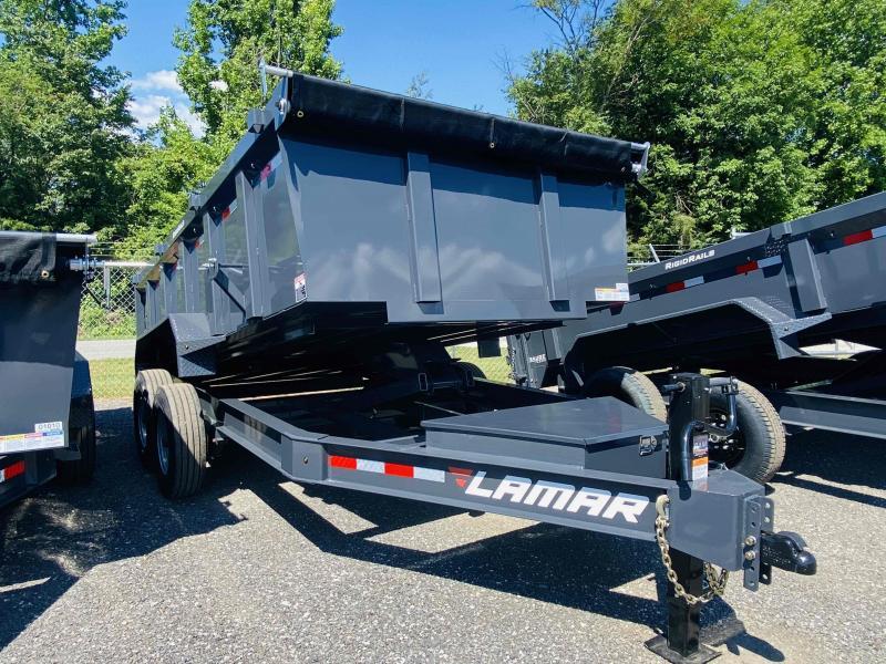 New 2021 Lamar 7ft x 14ft 16k Tandem Axle Low-Pro Bumper Pull Dump w/3ft walls (Lamar Gray)