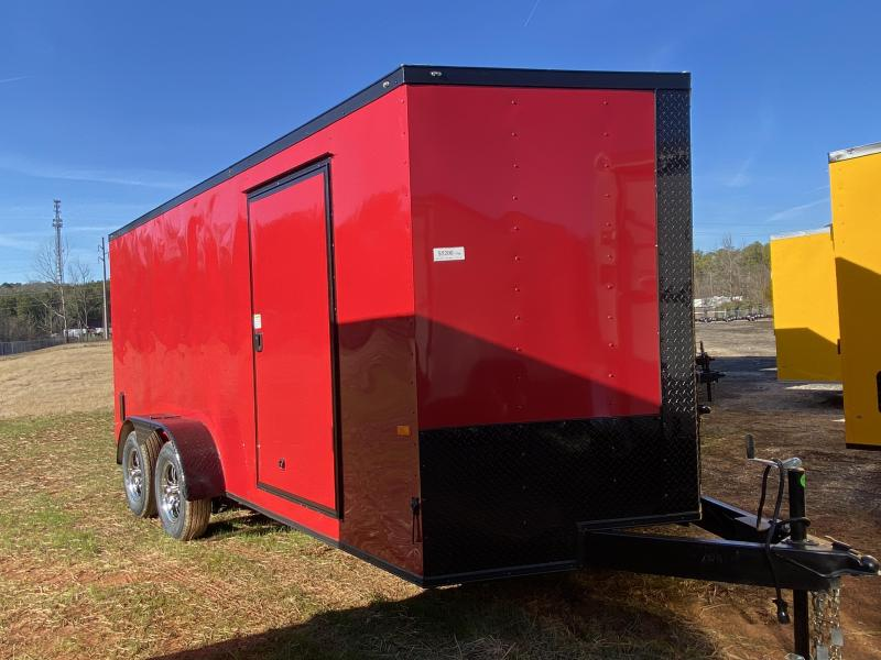 New 2021 Rock Solid 7ft x 16ft 7k Tandem Axle  Bumper Pull Enclosed w/6ft walls (Red w/SBO)