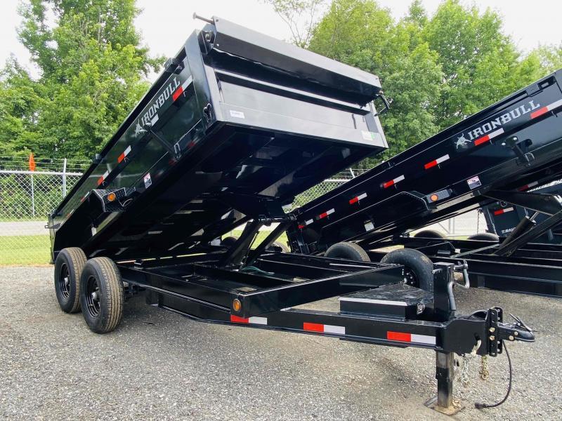 New 2022 Iron Bull 7ft x 14ft 14k Tandem Axle HD Bumper Pull Dump w/2ft walls (Black)
