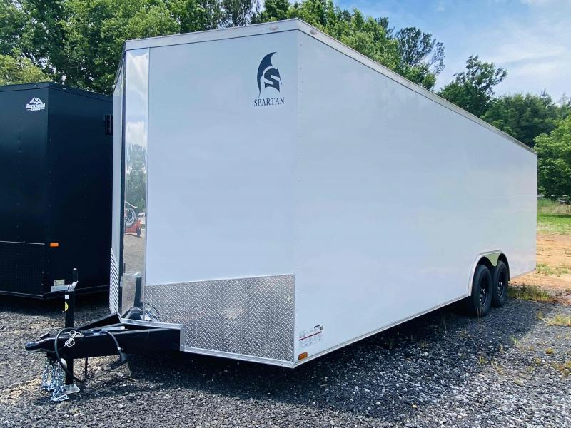 New 2021 Spartan 8.5ft x 24ft 10k Tandem Axle  Bumper Pull Enclosed w/6.5ft walls (White)