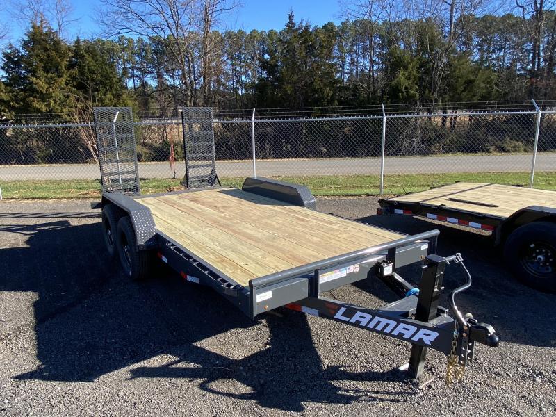 New 2021 Lamar 7ft x 16ft 14k Tandem Axle  Bumper Pull Car/Equipment Hauler   (Lamar Gray)
