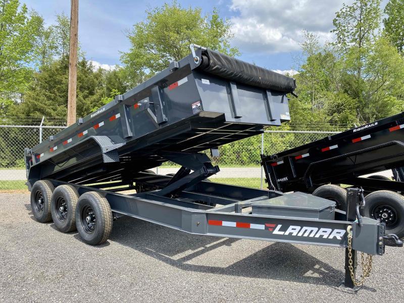 New 2021 Lamar 7ft x 16ft 21k Triple Axle Low-Pro Bumper Pull Dump w/2ft walls (Lamar Gray)