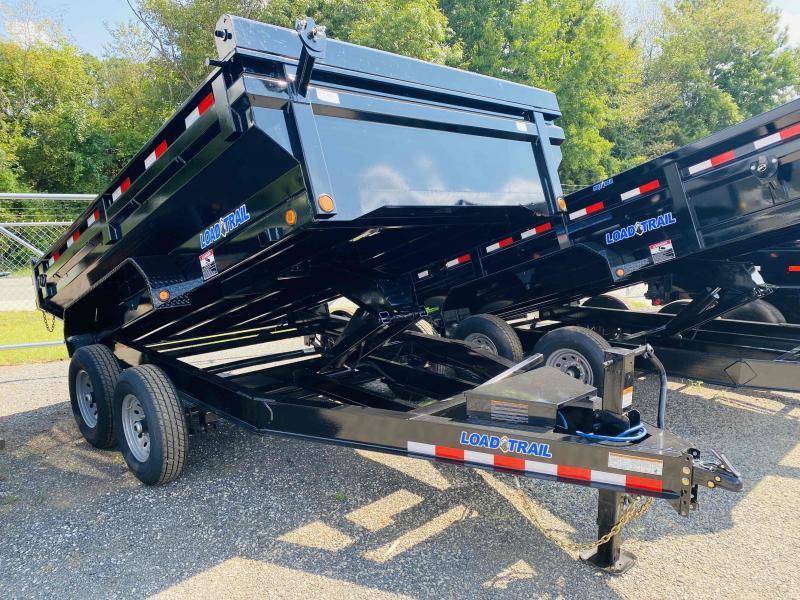 New 2022 Load Trail 7ft x 12ft 14k Tandem Axle MAX-Bed Bumper Pull Dump w/2ft walls (Black)
