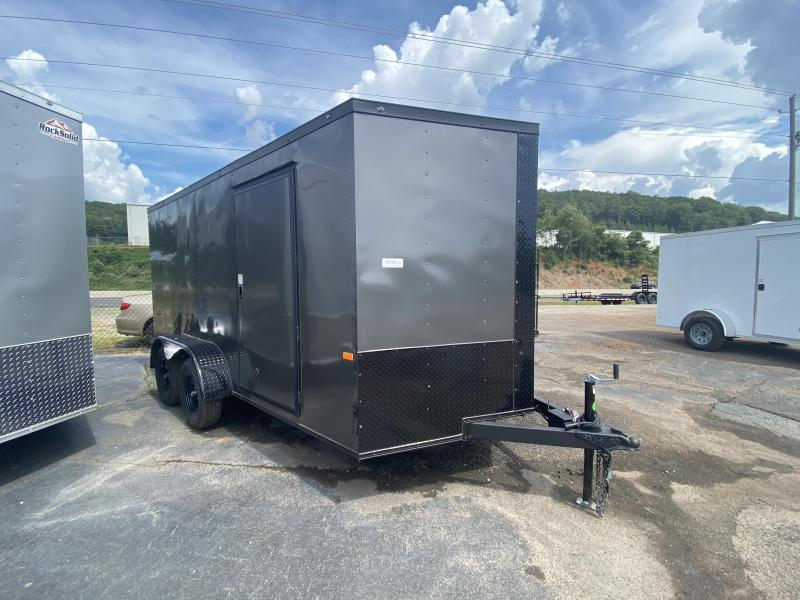 New 2021 Rock Solid 7ft x 14ft 7k Tandem Axle  Bumper Pull Enclosed w/6ft walls (Charcoal Gray w/ BO)