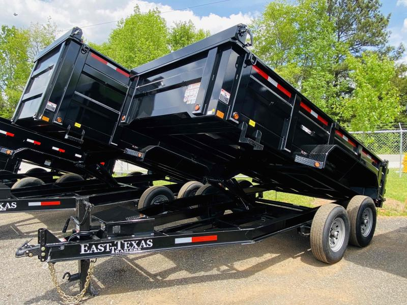 New 2021 East Texas 7ft x 14ft 14k Tandem Axle  Bumper Pull Dump w/2ft walls (Black)