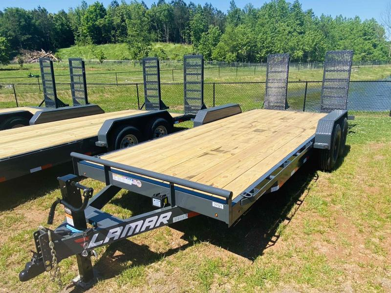 New 2021 Lamar 7ft x 20ft 16k Tandem Axle  Bumper Pull Car/Equipment Hauler   (Lamar Gray)