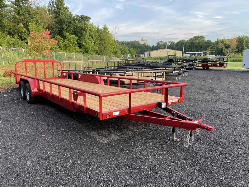 New 2021 East Texas 7ft x 24ft 7k Tandem Axle  Bumper Pull Utility w/1ft walls (Red)