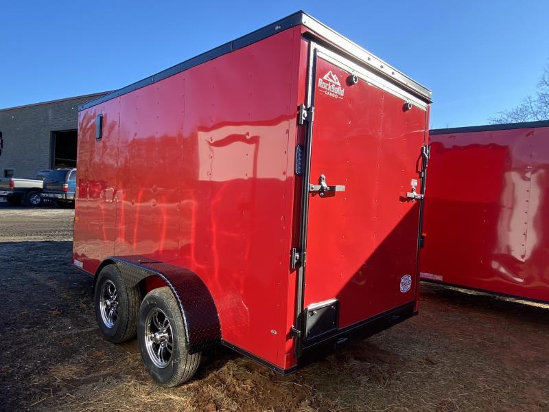 New 2021 Rock Solid 6ft x 12ft 7k Tandem Axle  Bumper Pull Enclosed w/6ft walls (Red w/SBO)
