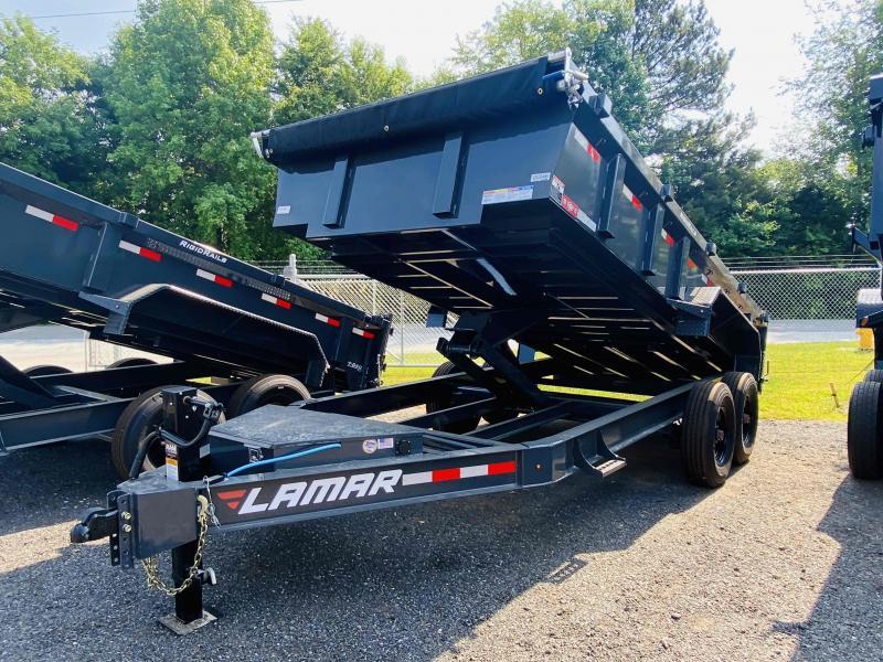 New 2021 Lamar 7ft x 16ft 16k Tandem Axle Low-Pro Bumper Pull Dump w/2ft walls (Lamar Gray)