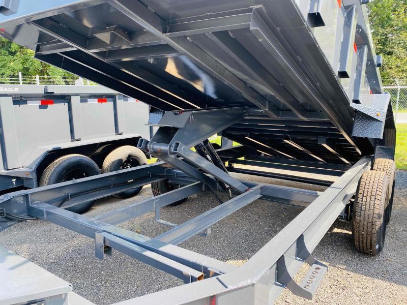 New 2021 Lamar 7ft x 16ft 14k Tandem Axle Low-Pro  Bumper Pull Dump w/2ft walls (Lamar Gray)