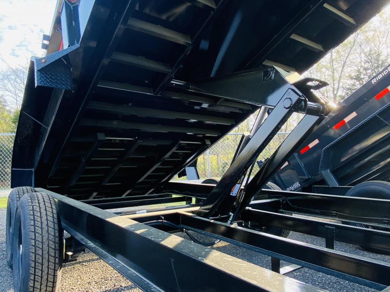 New 2021 Lamar 7ft x 16ft 14k Tandem Axle Low-Pro Bumper Pull Dump w/2ft walls (Black)