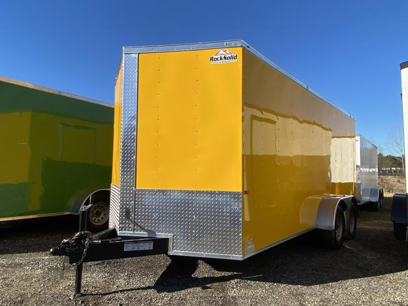 New 2021 Rock Solid 7ft x 16ft 7k Tandem Axle  Bumper Pull Enclosed w/6ft walls (Yellow)