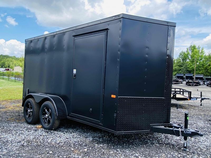 New 2021 Rock Solid 6ft x 12ft 7k Tandem Axle  Bumper Pull Enclosed w/6ft walls (Matte Black w/SBO)