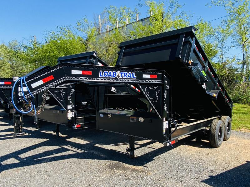 New 2021 Load Trail 7ft x 14ft 14k Tandem Axle  Gooseneck Dump w/2ft walls (Black)