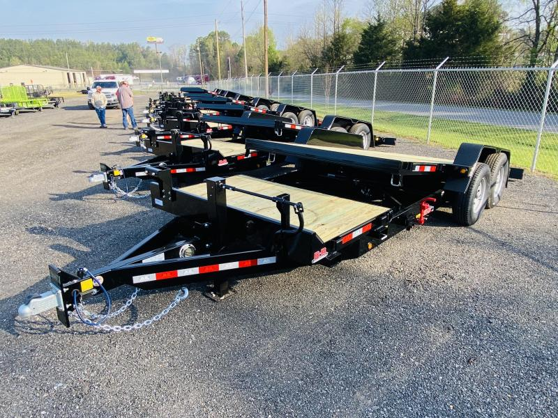 New 2021 Behnke 7ft x 20ft 16k Tandem Axle Heavy Duty Bumper Pull Tilt Deck   (Black)