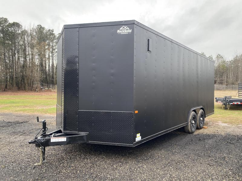 New 2021 Rock Solid 8.5ft x 20ft 10k Tandem Axle  Bumper Pull Enclosed w/7ft walls (Matte Black w/SBO)