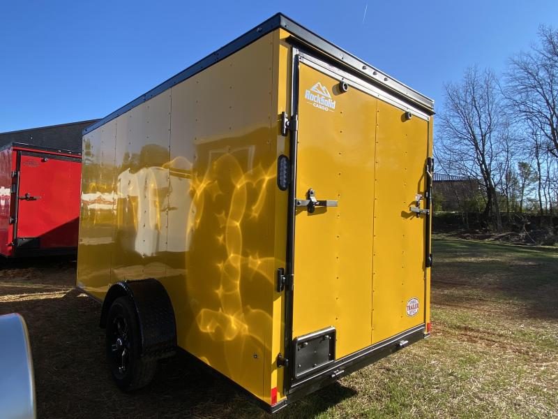 New 2021 Rock Solid 6ft x 12ft 3.5k Single Axle  Bumper Pull Enclosed w/6ft walls (Yellow w/SBO)