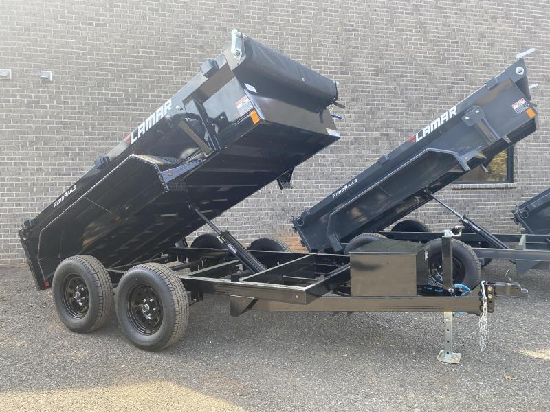New 2021 Lamar 5ft x 10ft 7k Tandem Axle Mini Bumper Pull Dump w/1.5ft walls (Black)