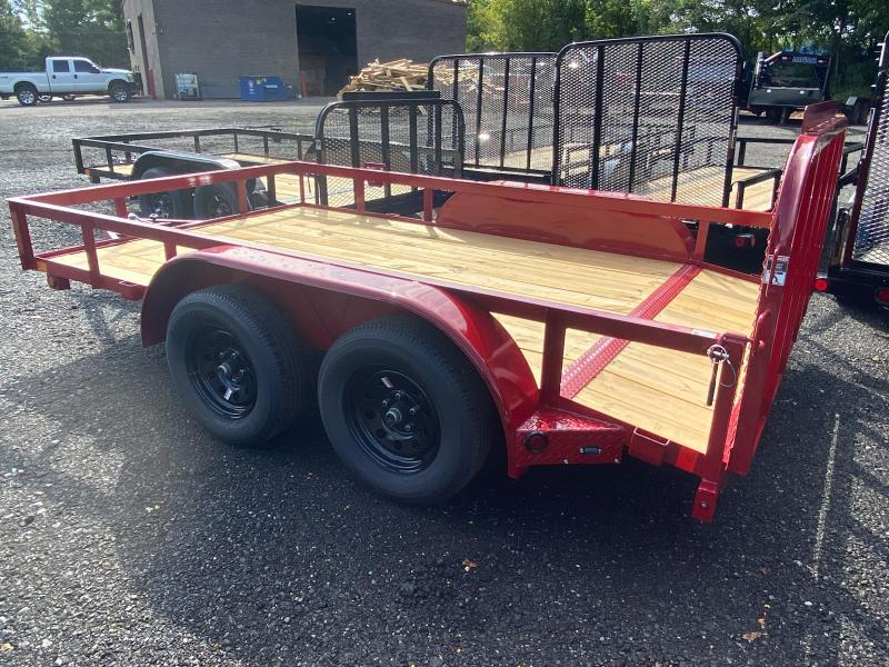 New 2021 East Texas 7ft x 12ft 7k Tandem Axle  Bumper Pull Utility w/1ft walls (Red)