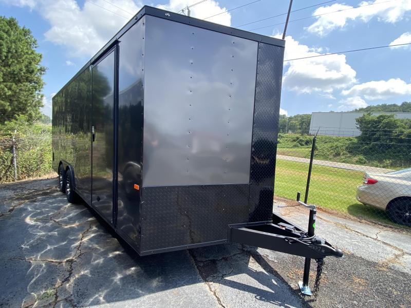 New 2021 Rock Solid 8.5ft x 20ft 7k Tandem Axle  Bumper Pull Enclosed w/6ft walls (Charcoal Gray w/ BO)