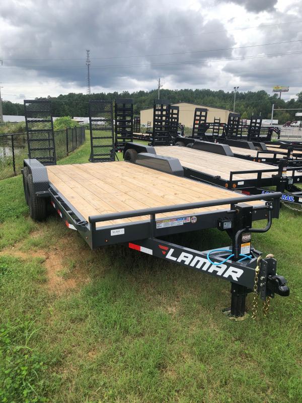 New 2021 Lamar 7ft x 18ft 14k Tandem Axle  Bumper Pull Car/Equipment Hauler   (Lamar Gray)