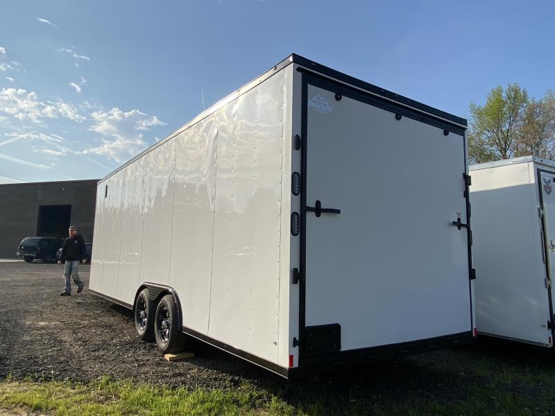 New 2021 Rock Solid 8.5ft x 24ft 10k Tandem Axle  Bumper Pull Enclosed w/7ft walls (White w/SBO)
