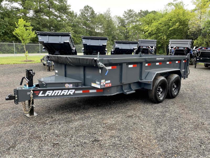 New 2021 Lamar 7ft x 14ft 14k Tandem Axle Low-Pro Bumper Pull Dump w/2ft walls (Lamar Gray)