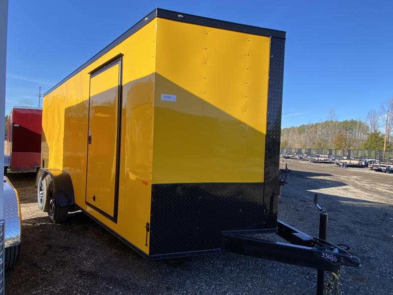 New 2021 Rock Solid 7ft x 16ft 7k Tandem Axle  Bumper Pull Enclosed w/6ft walls (Yellow w/SBO)