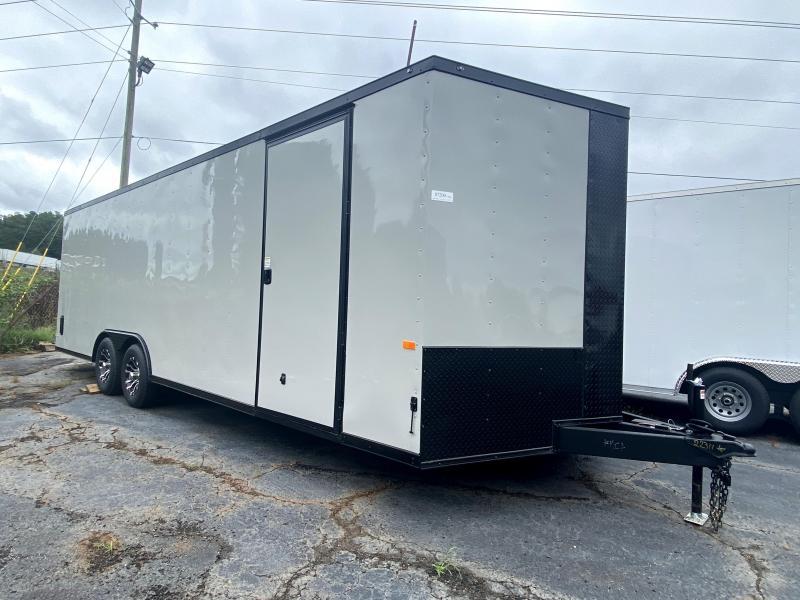 New 2020 Rock Solid 8.5ft x 24ft 10k Tandem Axle  Bumper Pull Enclosed w/6ft walls (Dove Gray w/ BO)