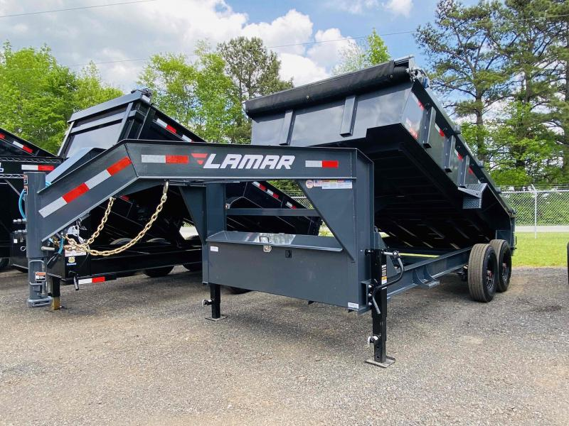 New 2021 Lamar 7ft x 16ft 16k Tandem Axle Low-Pro Gooseneck Dump w/2ft walls (Lamar Gray)