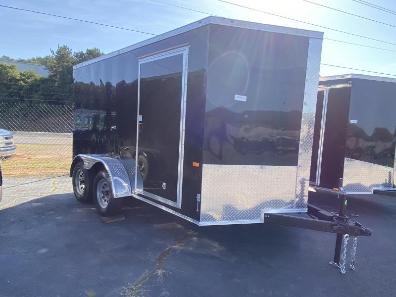 New 2021 Rock Solid 7ft x 12ft 7k Tandem Axle  Bumper Pull Enclosed w/6ft walls (Black)