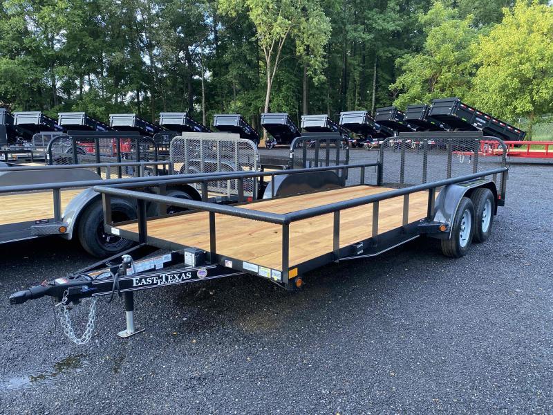 New 2021 East Texas 7ft x 18ft 7k Tandem Axle  Bumper Pull Utility w/1ft walls (Black)