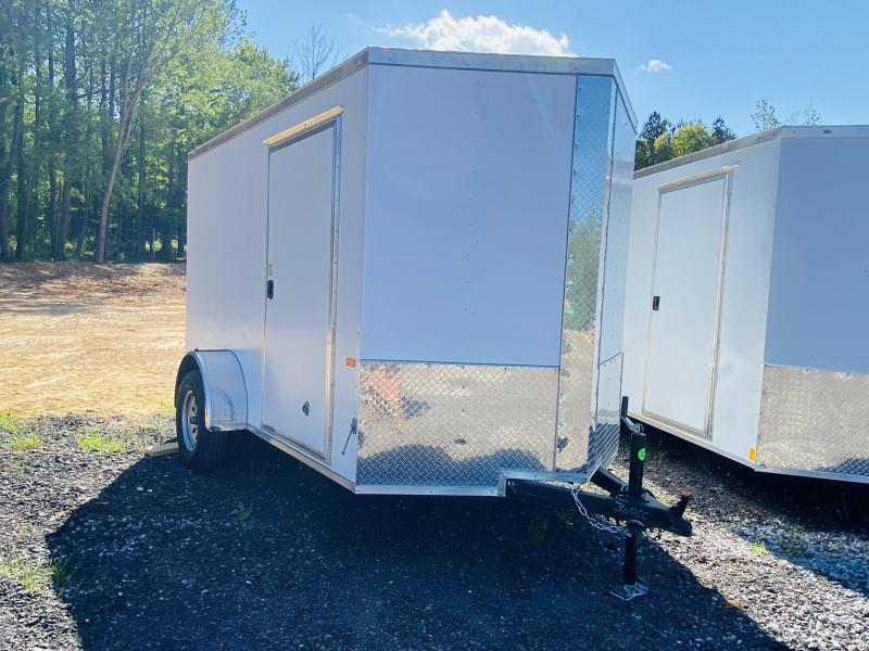 New 2021 Rock Solid 6ft x 10ft 3.5k Single Axle  Bumper Pull Enclosed w/6ft walls (Matte White)