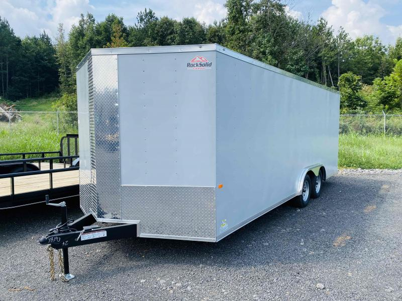 New 2022 Rock Solid 8.5ft x 20ft 7k Tandem Axle  Bumper Pull Enclosed w/6ft walls (Pewter)
