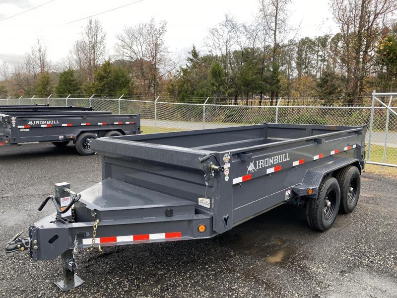 New 2021 Iron Bull 7ft x 14ft 14k Tandem Axle  Bumper Pull Dump w/2ft walls (Ranch Gray)