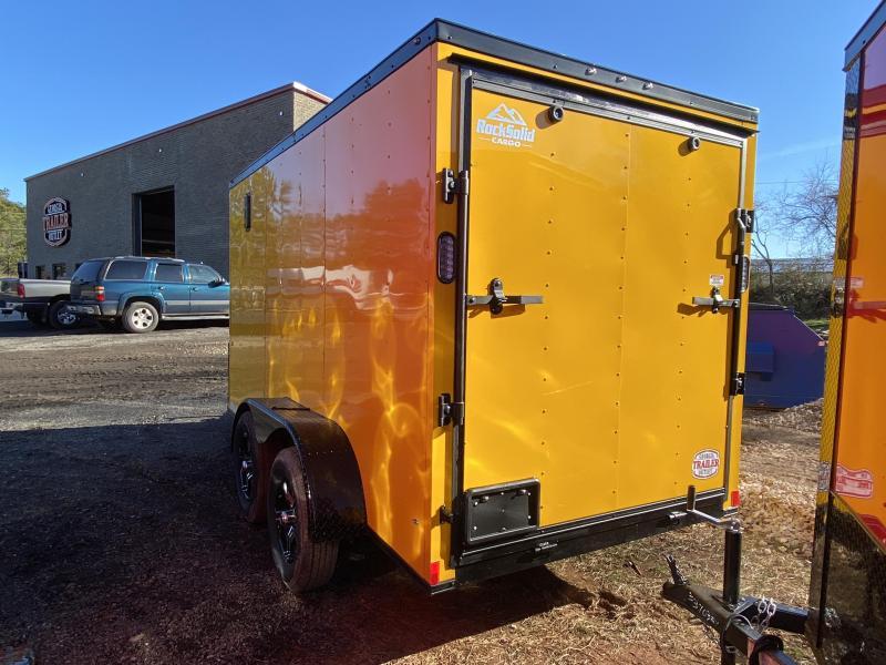 New 2021 Rock Solid 6ft x 12ft 7k Tandem Axle  Bumper Pull Enclosed w/6ft walls (Yellow w/SBO)