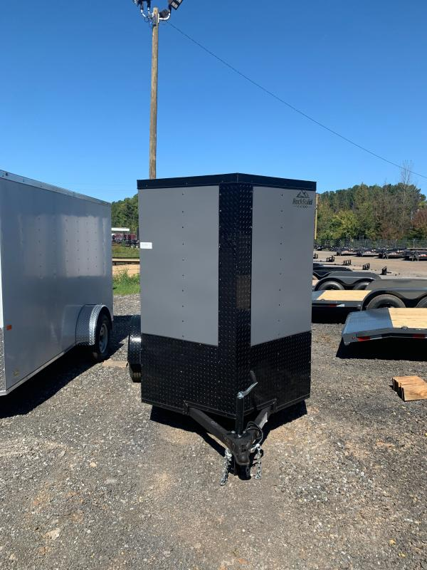 New 2022 Rock Solid 5ft x 08ft 3.5k Single Axle  Bumper Pull Enclosed w/6ft walls (Charcoal w/SBO)