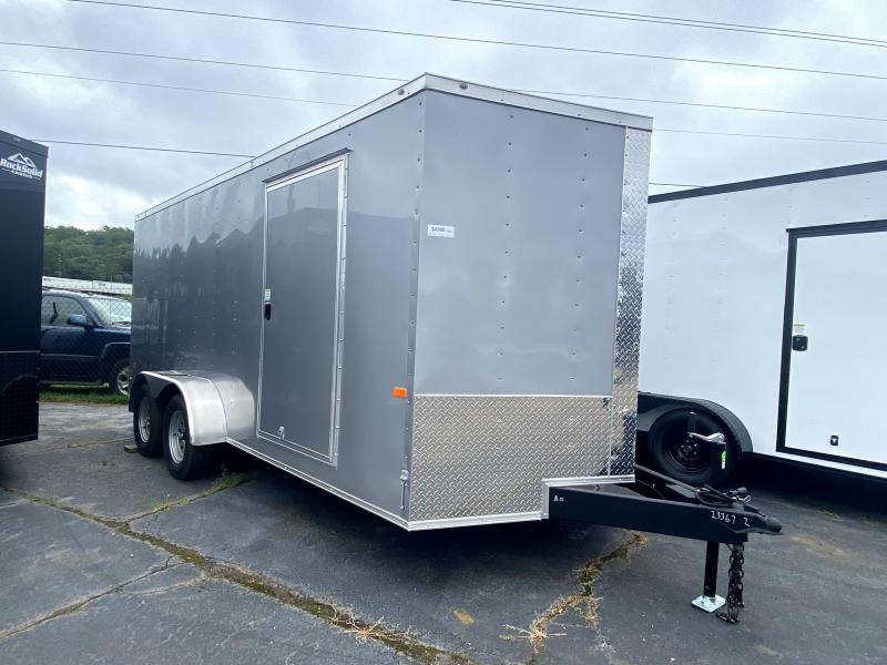 New 2021 Rock Solid 7ft x 16ft 7k Tandem Axle  Bumper Pull Enclosed w/6ft walls (Silver Frost)