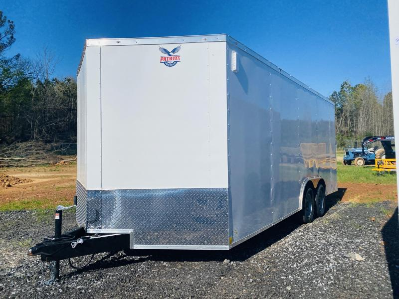 New 2021 Patriot 8.5ft x 24ft 7k Tandem Axle  Bumper Pull Enclosed w/6ft walls (White)