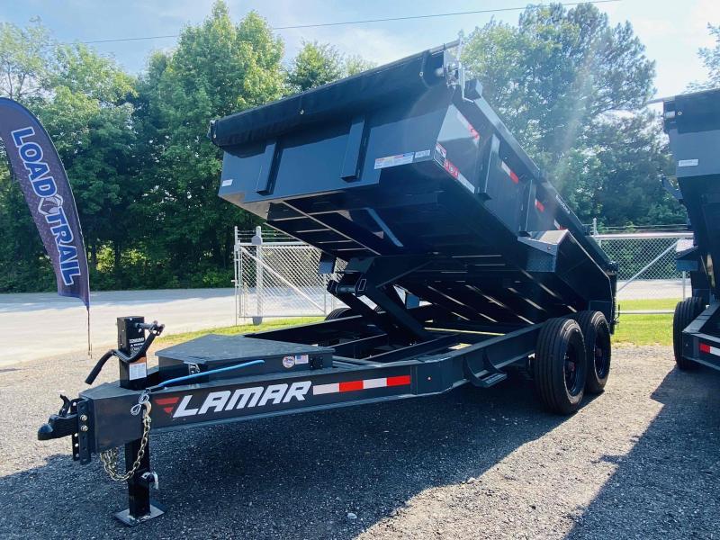 New 2021 Lamar 7ft x 14ft 16k Tandem Axle Low-Pro Bumper Pull Dump w/2ft walls (Lamar Gray)