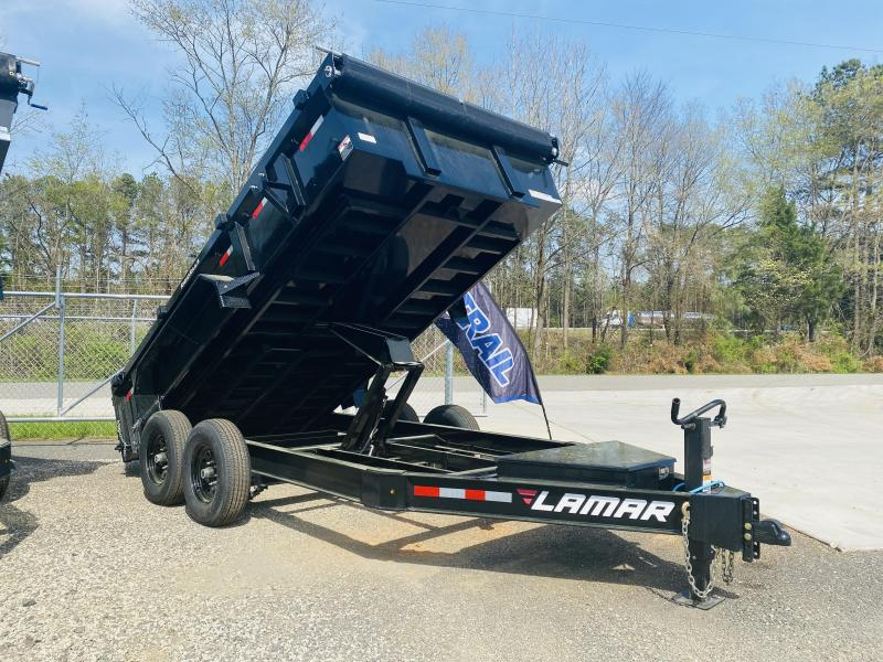 New 2021 Lamar 7ft x 14ft 14k Tandem Axle XL Low-Pro Bumper Pull Dump w/2ft walls (Black)