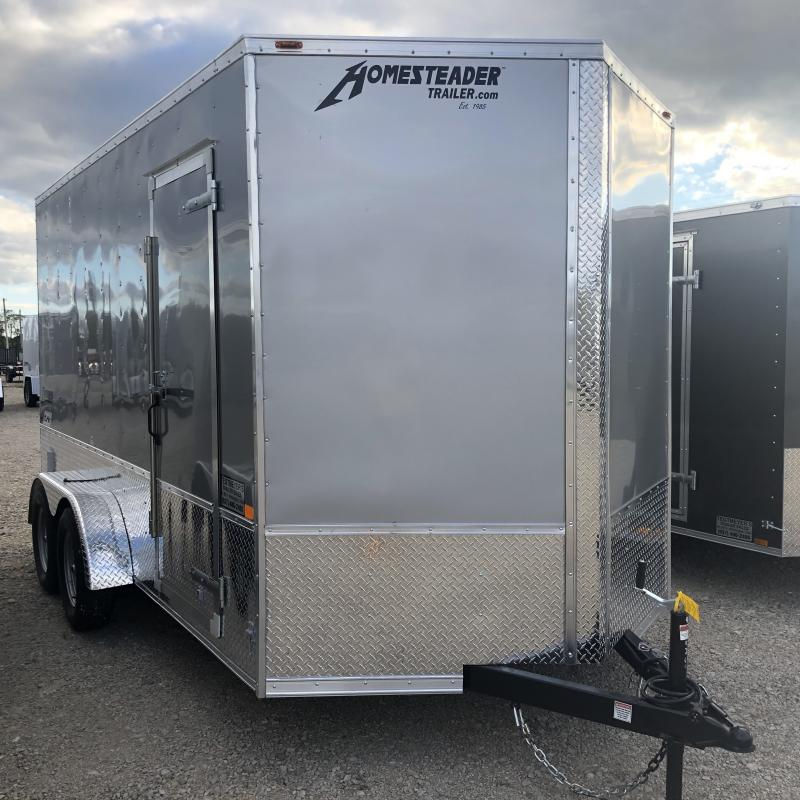 Homesteader Trailers 7x14 Enclosed Trailer w/ Ramp Door - Side Wall Vents - D Rings - Side Door