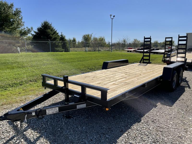20' Wood Floor Flatbed Trailers w/ ramps - 9990 GVW - BRAKE