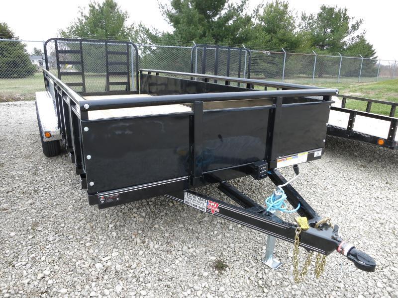 "PJ Trailers 7' x 18' Utility Trailer w/ HD Fold Up Gate and 22"" Metal Side"