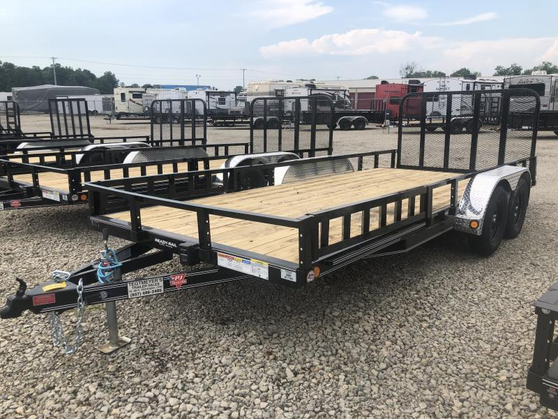 PJ Trailers 7' x 18' Utility Trailer w/ Gate -Side Ramps
