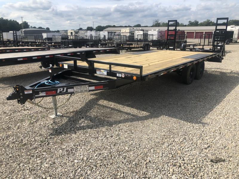 PJ Trailers 20' Flatbed Deckover w/Stand up Ramps