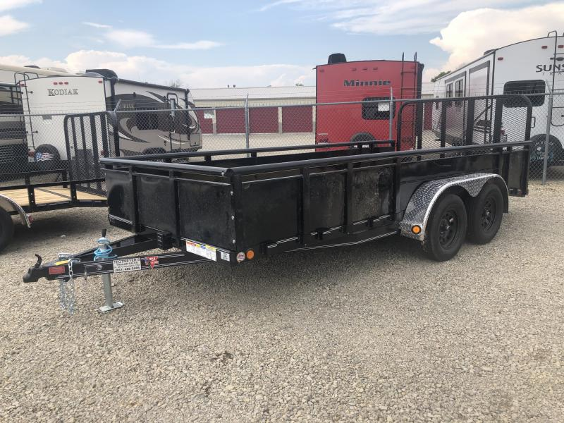 PJ Trailers 7' x 16' Utility Trailer w/ Fold Up Gate and 22